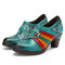 SOCOFY Colorblock Floral Printed Genuine Leather Splicing Wearable Side Zipper Heels Shoes - Blue