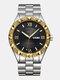 Large Dial Men Business Watch Steel Band Luminous Calendar Waterproof Quartz Watch - #06