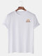 Mens Cotton Cartoon Sloth Solid Color Short Sleeve Casual T-Shirt - White