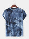 Mens Tie Dye Print Casual Breathable Loose O-Neck T-Shirts - Blue