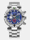 Multifunctional Men Business Watch Luminous Chronograph Calendar Quartz Watch - Silver Case Blue Dial