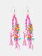 Bohemia Handmade Woven Women Earrings Pearl Turquoise Tassel Pendant Earrings - Rose