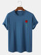 Mens Casual Rose Chest Print 100% Cotton Round Neck Short Sleeve T-Shirt - Navy