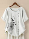 Butterful Print Short Sleeve Plus Size T-shirt - White