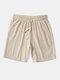 Pantalones cortos con cordones básicos de lino de bolsillo grande de color sólido para hombre - Caqui