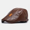 COLLROWN Men New Artificial Leather Hat Keep Warm Ear Protected Casual Beret Hat Flat Caps - Brown