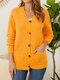 Pocket Button Long Sleeve V-neck Solid Cardigan for Women - Yellow