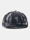 Unisex Denim Solid Color Ripped Hole Made-old Fashion Brimless Beanie Landlord Cap Skull Cap - Black