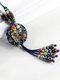 Vintage Flowers Tassel Pendant Round-shape Ceramic Alloy Wood Necklaces - Blue