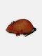 पुरुषों असली लेदर कार्टून प्यारा पशु माउस हस्तनिर्मित सिक्का बैग भंडारण बैग बटुआ - संतरा