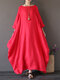 Vintage Women Solid 3/4 Sleeve Loose Maxi Dress with Pocket - Red