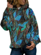 Casual Print Long Sleeve Plus Size Hoodie for Women - Blue