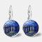 Vintage Geometric Round Oil Painting Series Earrings Metal Glass Gem Daisy Pendant Ear Clips - 3