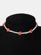Trendy Beads Flowers Necklace Temperament Geometric Beaded Clavicle Chain - Orange