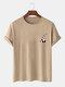 Camiseta masculina 100% algodão cor sólida Panda estampa fina casual - Cáqui
