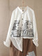 Print Drawing Long Sleeve Stand Collar Blouse
