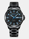 4 Colors Stainless Steel Men Vintage Watch Luminous Pointer Decorated Calendar Quartz Watch - Black Band Black Case Black Dial