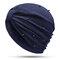 Womens Breathable Comfortable Pearl Headpiece Casual Elastic Beanie Hats Muslim Pile Heap Cap - Navy Blue