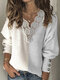 Patchwork Lace Lantern Sleeves Plus Size Casual Sweater With Button - Grey
