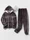 Women Flannel Letter Embroidery Patchwork Thicken Hoodie Warm Home Pajama Set - Gray