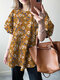 Floral Print Puff Sleeve Plus Size Crew Neck Blouse - Yellow