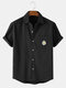Mens Embroidered Cotton Breathable Casual Short Sleeve Shirts With Pocket - Black