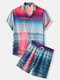 Mens Sunset Ocean Scenery Print Lapel Holiday Two Piece Outfits - Blue