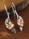 Vintage Rose Flower Leaf Women Earrings Two-Tone Symmetrical Pendant Earrings - Gold