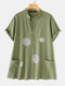 Print V-neck Short Sleeve Plus Size Shirt with Pockets - Green
