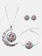 3 Pcs Printed Men Women Jewelry Set Wearing Garland Hollow Half Moon Necklace Bracelet Earring - #12
