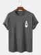 Mens Ace Of Hearts Poker Print 100% Cotton Short Sleeve T-Shirts-9 Colors - Dark Gray