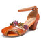 SOCOFY Leather Floral Cutout Buckle Ankle Strap Edged Peep Toe Block Heel D'orsay Pumps - Orange