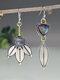 S925 Alloy Geometric Tree Leaf Labradorite Free Combination Asymmetric Earrings - #01