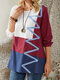 Line Print Patch Contrast Color Long Sleeve Casual T-Shirt For Women - White