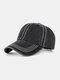 Men Washed Cotton Plain Color Baseball Cap Outdoor Sunshade Adjustable Hat - Black