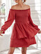 Solid Off-shoulder Long Sleeve Fungus Layered Casual Dress - Red