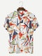 Mens Design Colorful Geometric Print Camp Collar Holiday Short Sleeve Shirts - Multi Color