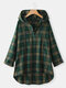 Plaid Button Hooded Long Sleeve Plus Size Blouse - Green
