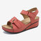 Women Beach Soft Sole Stitching Hollow Hook Loop Wedge Sandals - Red
