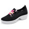 Women Sports Lightweight Breathable Mesh Lace Up Increasing Heel Dancing Shoes