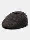 Men Woolen PU Patchwork Knitted Fine Lattice Pattern Hidden Ear Protection Casual Warmth Beret Flat Cap - Coffee