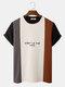 Mens Letter Pattern Knitted Patchwork Crew Neck Short Sleeve T-Shirt - Black