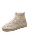 Women Breathable Hollow Out Mesh Fabric Cloth Casual Side Zipper Fisherman Ankle Boots - Apricot