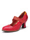 SOCOFY Embossed Leather Metal Decor Ankle Strap Hook Loop Party Wedding Shoes Mary Jane Pumps - Red