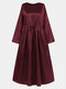 Solid Color Knotted Long Sleeve Loose Casual Maxi Dress - Wine Red