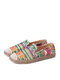 SOCOFY Bohemian Pattern Hollow Out Mesh Cloth Comfy Wearable Slip On Casual Espadrille Flat Shoes - Green