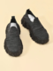 Women Fashion Print Breathable Knitted Fabric Chunky Sneakers Casual Comfy Wearable Platform Sneakers - Black+Black Gray