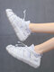 Women Sports Comfy Fashion Breathable Soft Comfy Knitted Fabric Sock Running Shoes Casaul Sneakers - White