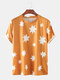 Mens Thin & Breathable Starry Printed Casual Short Sleeve Shirt - Orange
