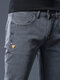 Mens Solid  Skinny Large Size Jeans Trousers - Gray